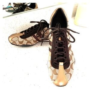 NEW Coach Kate brown, gold, cream sneakers tennies